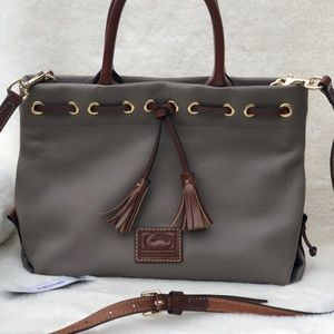Dooney and Bourke Taupe tassel tote
